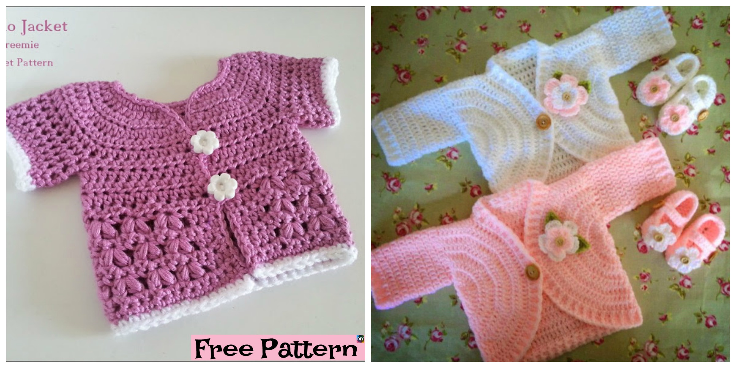 Pretty Crochet Kids Coat  – Free Patterns