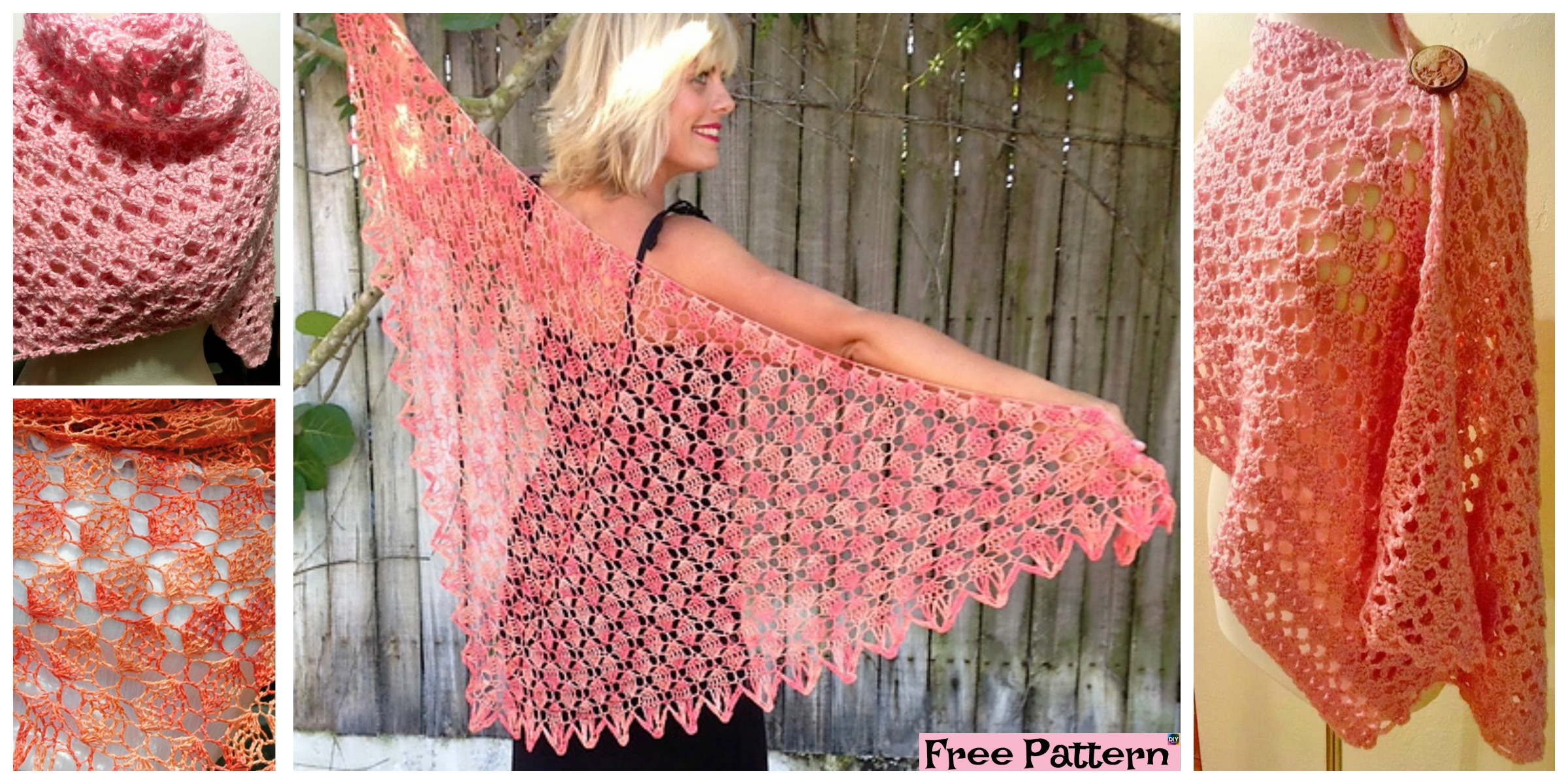 Victoria Crochet Lacy Shawl  – Free Patterns