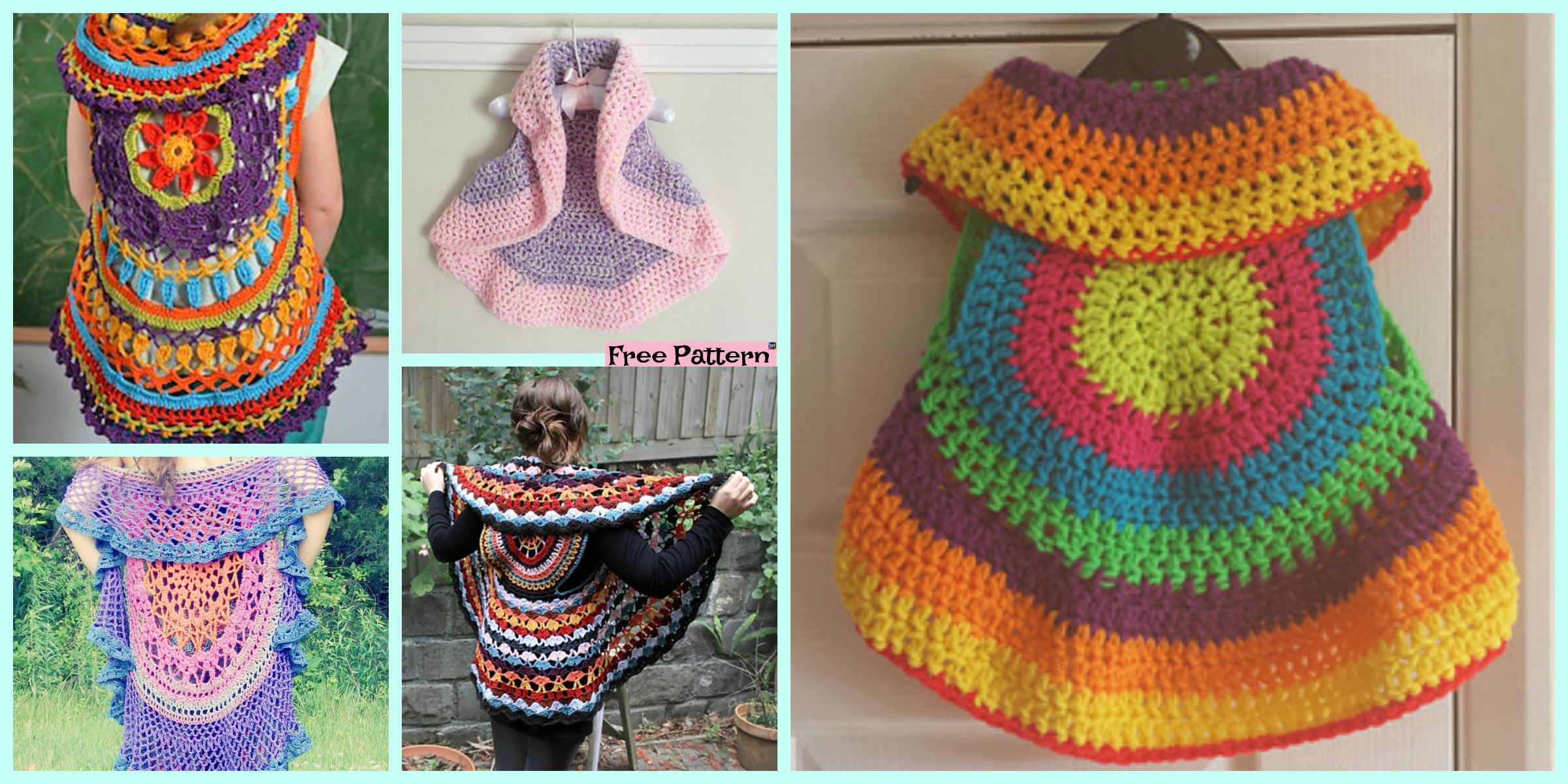 10 Cutest Crochet Circular Vest Free Patterns