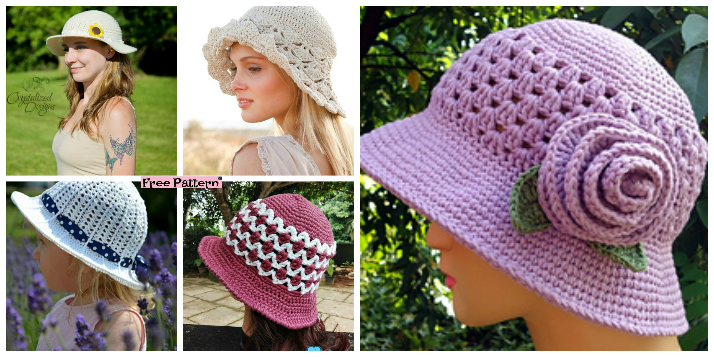 10 Most Beautiful Crochet Sun Hat  Free Patterns