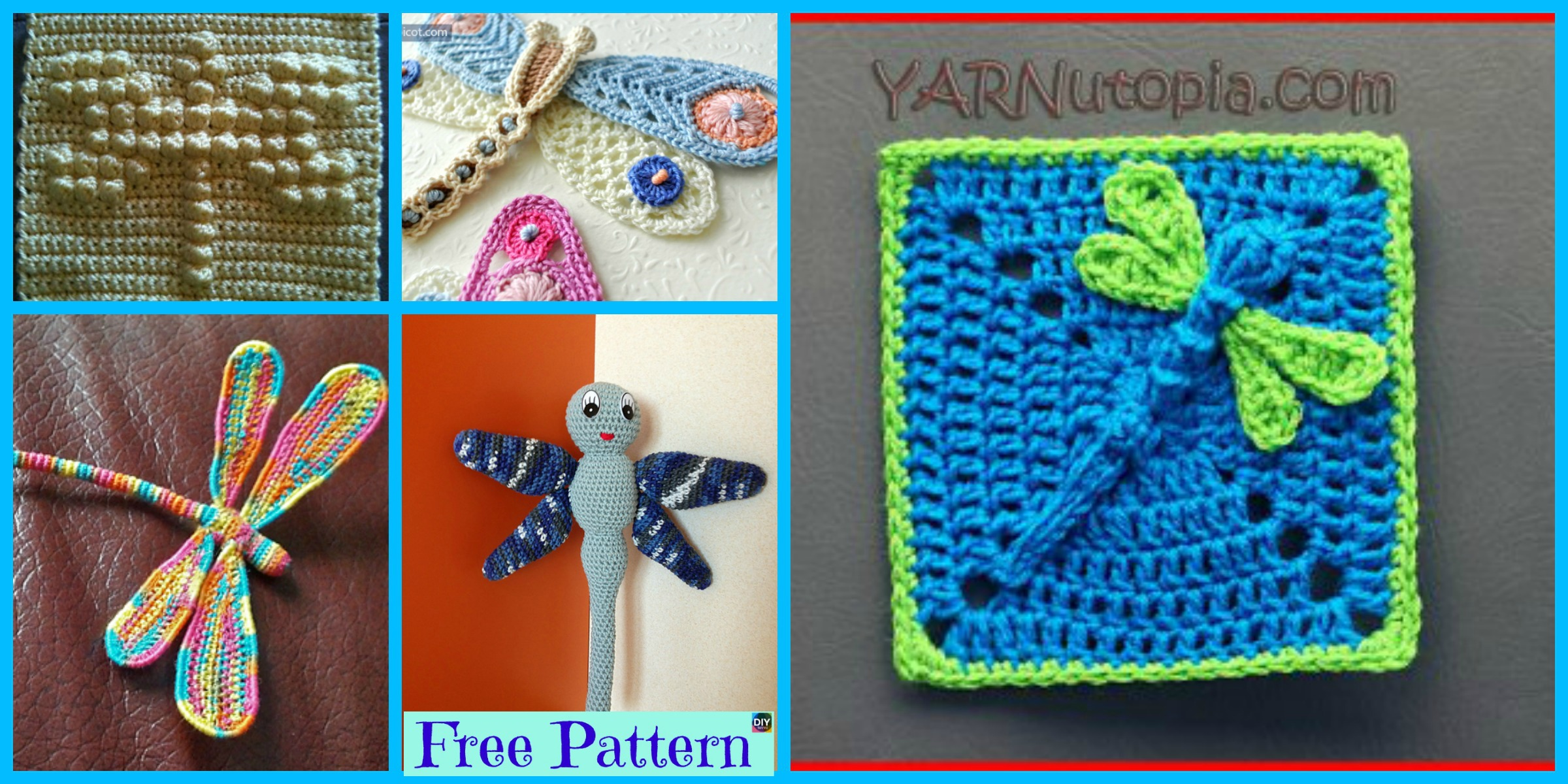 6 Beautiful Crochet Dragonfly Free Patterns