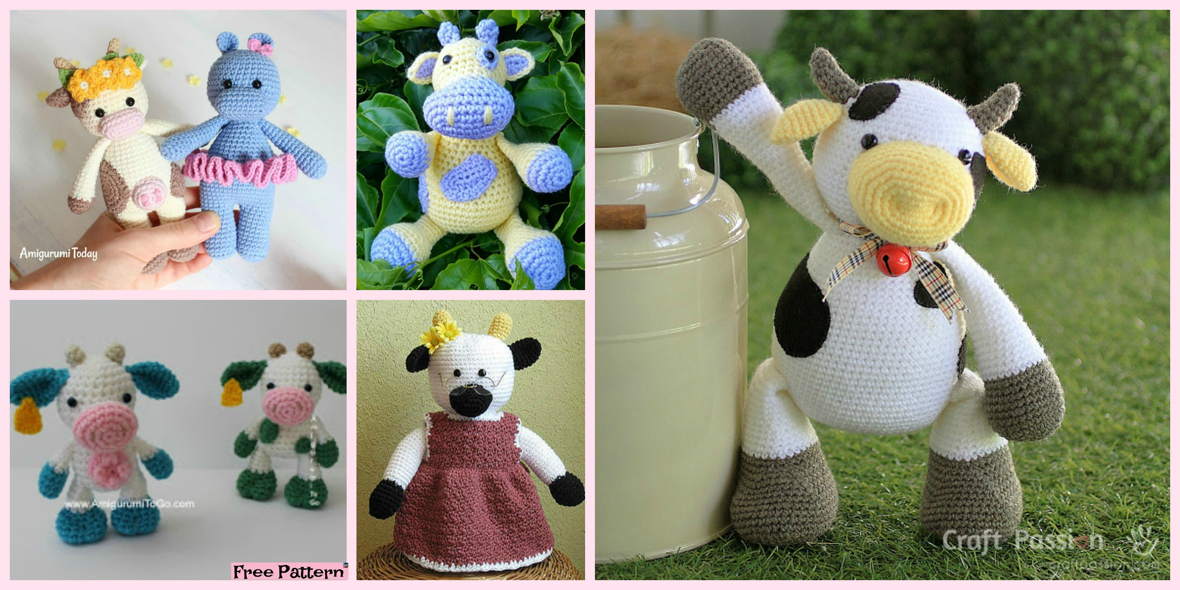6 Super Cute Crocheted Amigurumi Cow Free Patterns