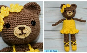 diy4ever- Adorable Crochet Bear Ballerina - Free Pattern