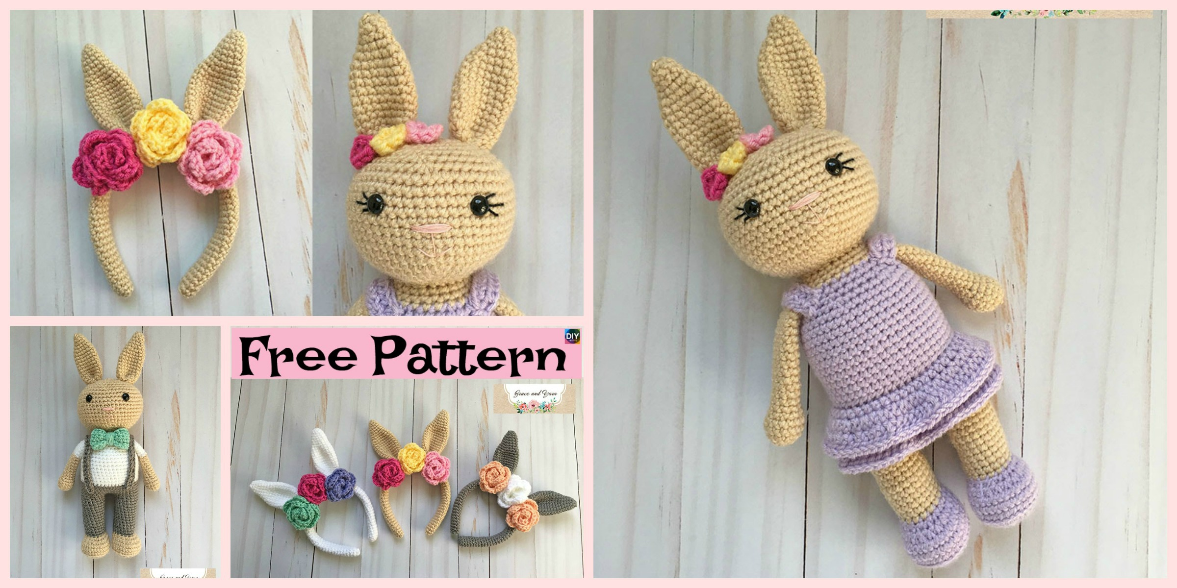 Beautiful Crochet Bunny Headband – Free Pattern
