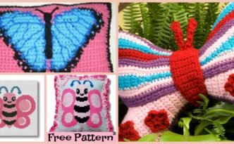 diy4ever-Beautiful Crochet Butterfly Pillow - Free Pattern