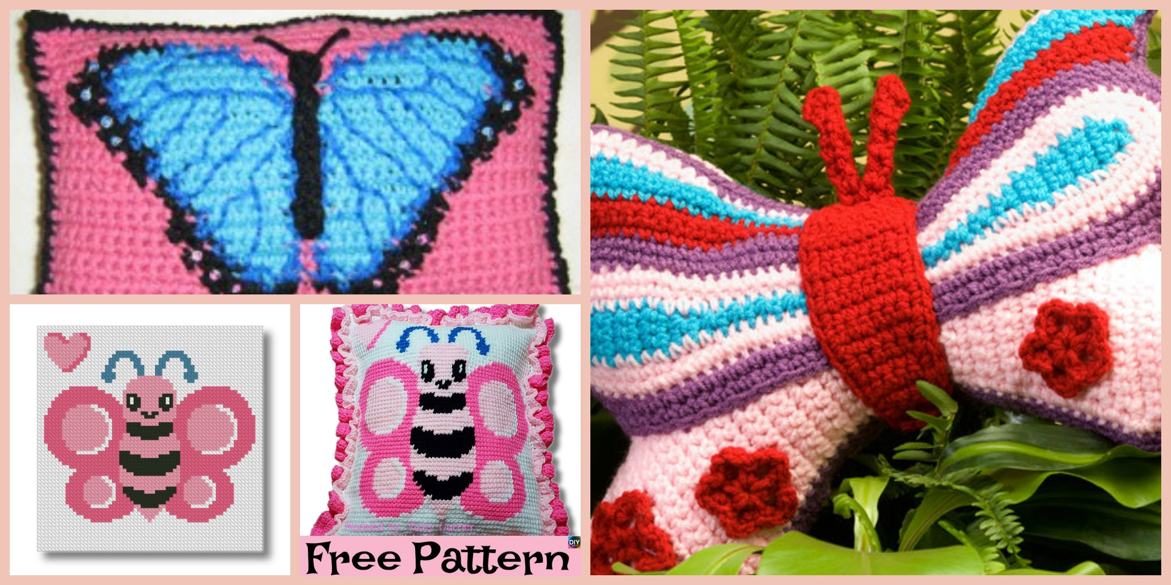 Beautiful Crochet Butterfly Pillow – Free Pattern