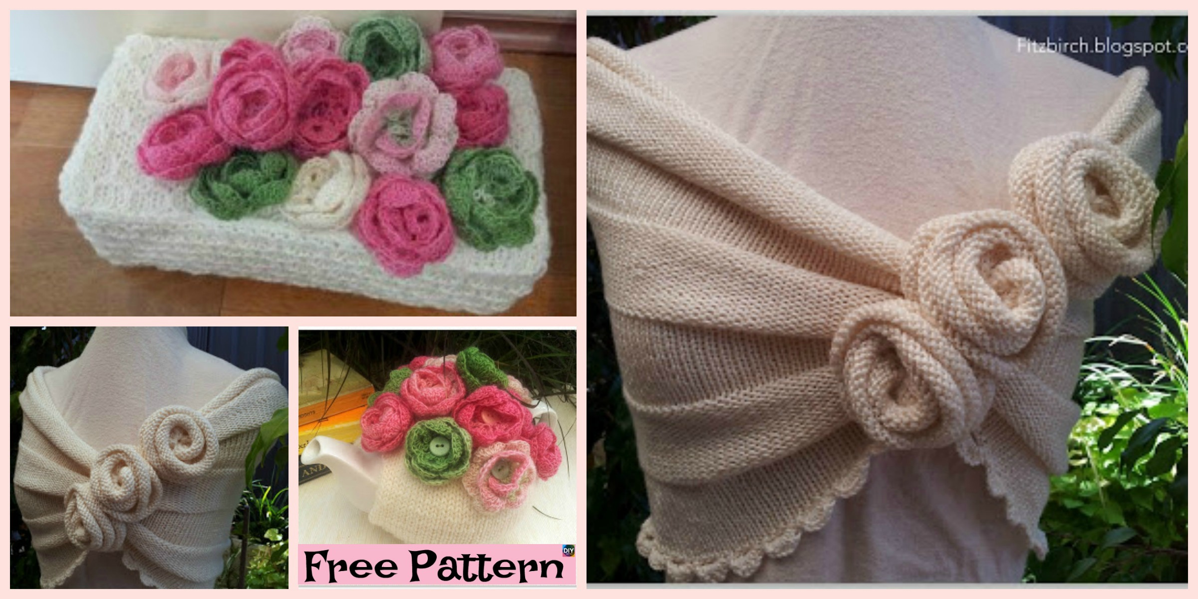 Beautiful Knit Rose Capelet – Free Pattern