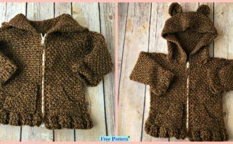 diy4ever-Crochet Baby Bear Cardigan – Free Patterns