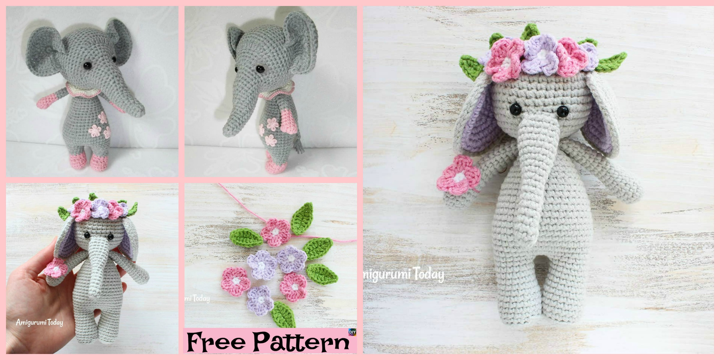 Pink crochet elephant pattern - Amigurumi Today | 1200x2400
