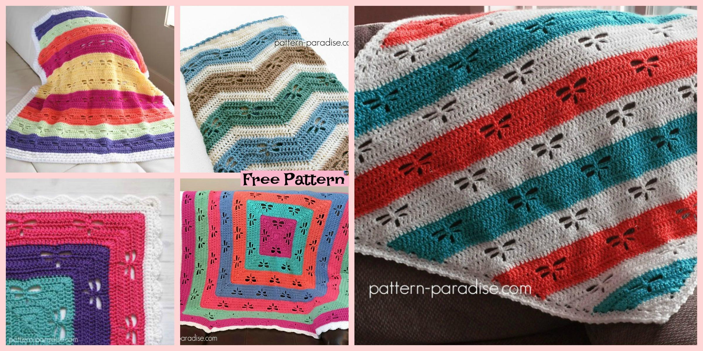 Crochet Dragonfly Stitch Blanket – Free Patterns