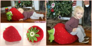 diy4ever- Crochet Giant Strawberry Pillow - Free Pattern