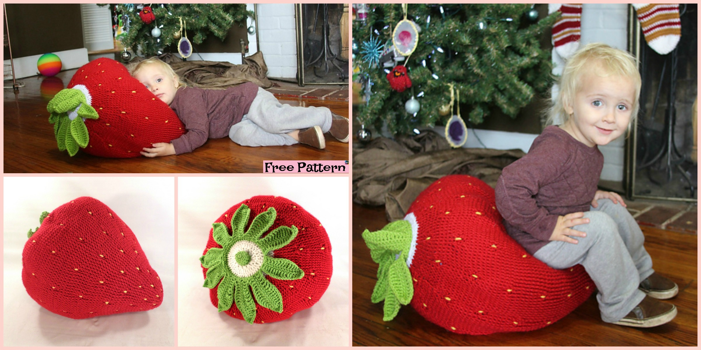 Crochet Giant Strawberry Pillow – Free Pattern