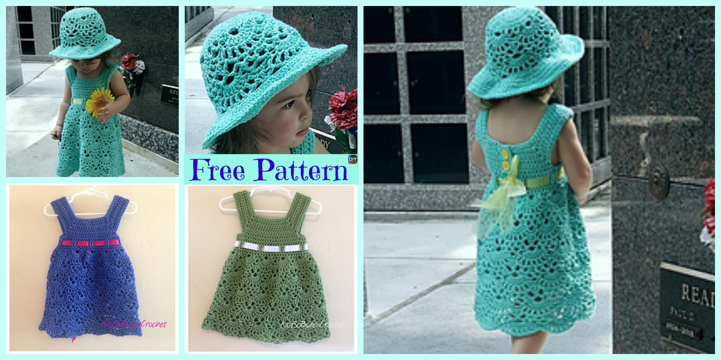 Crochet Lacy Shell  Dress Hat Set – Free Patterns