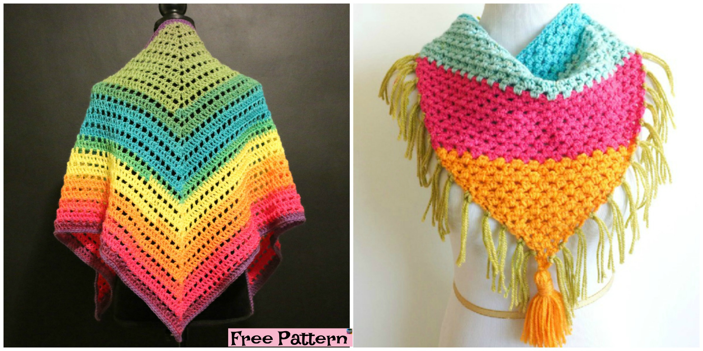 Crochet Rainbow Triangle Scarf – Free Pattern