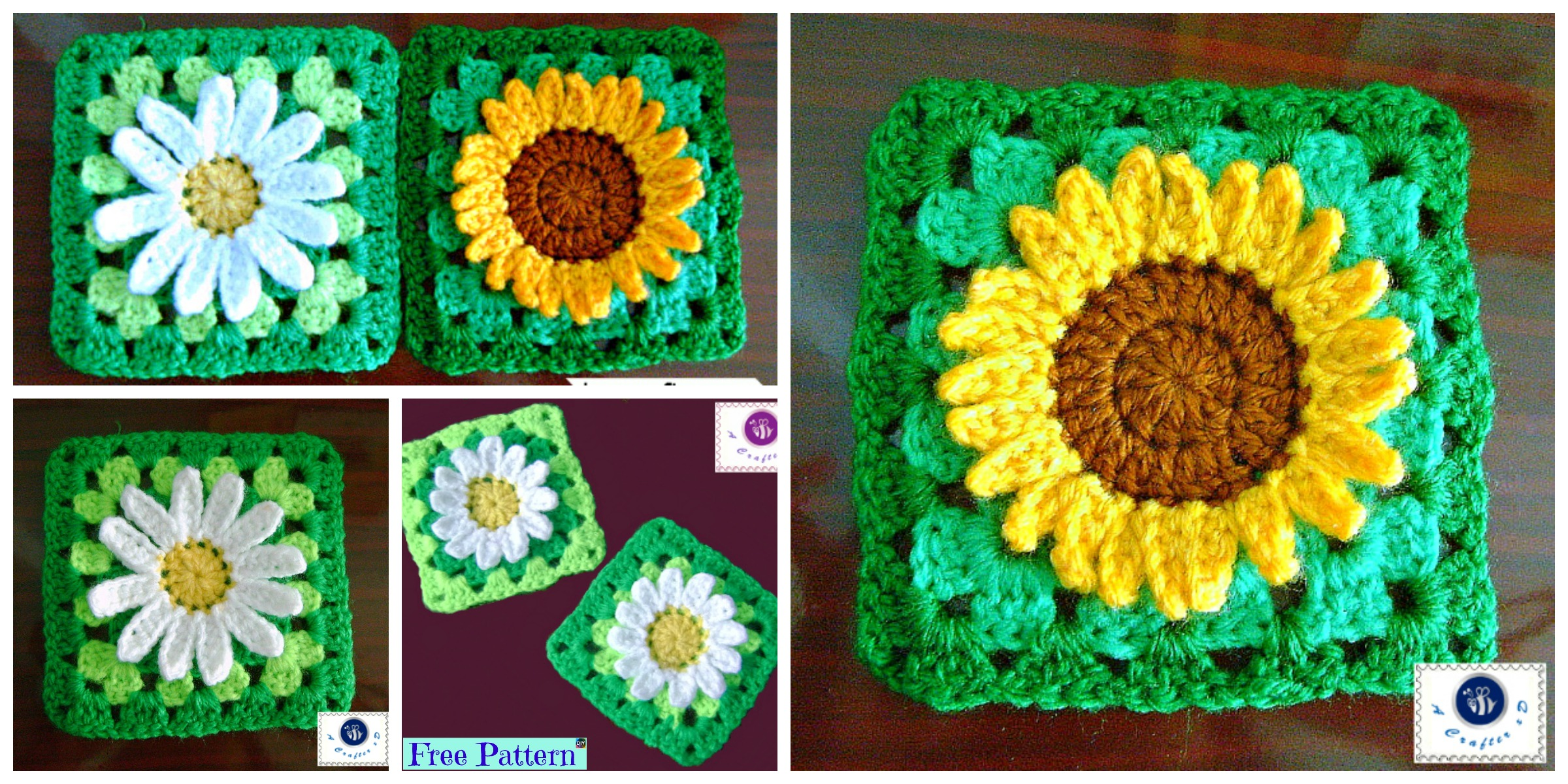 Crochet Sunflower Granny Square Free Pattern Diy 4 Ever