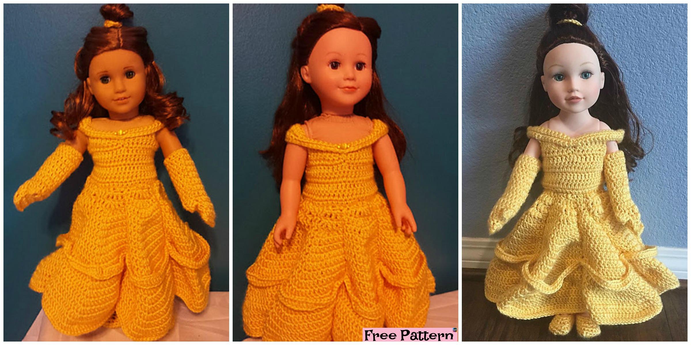 Crochte Belle Doll Ball Gown – Free Pattern