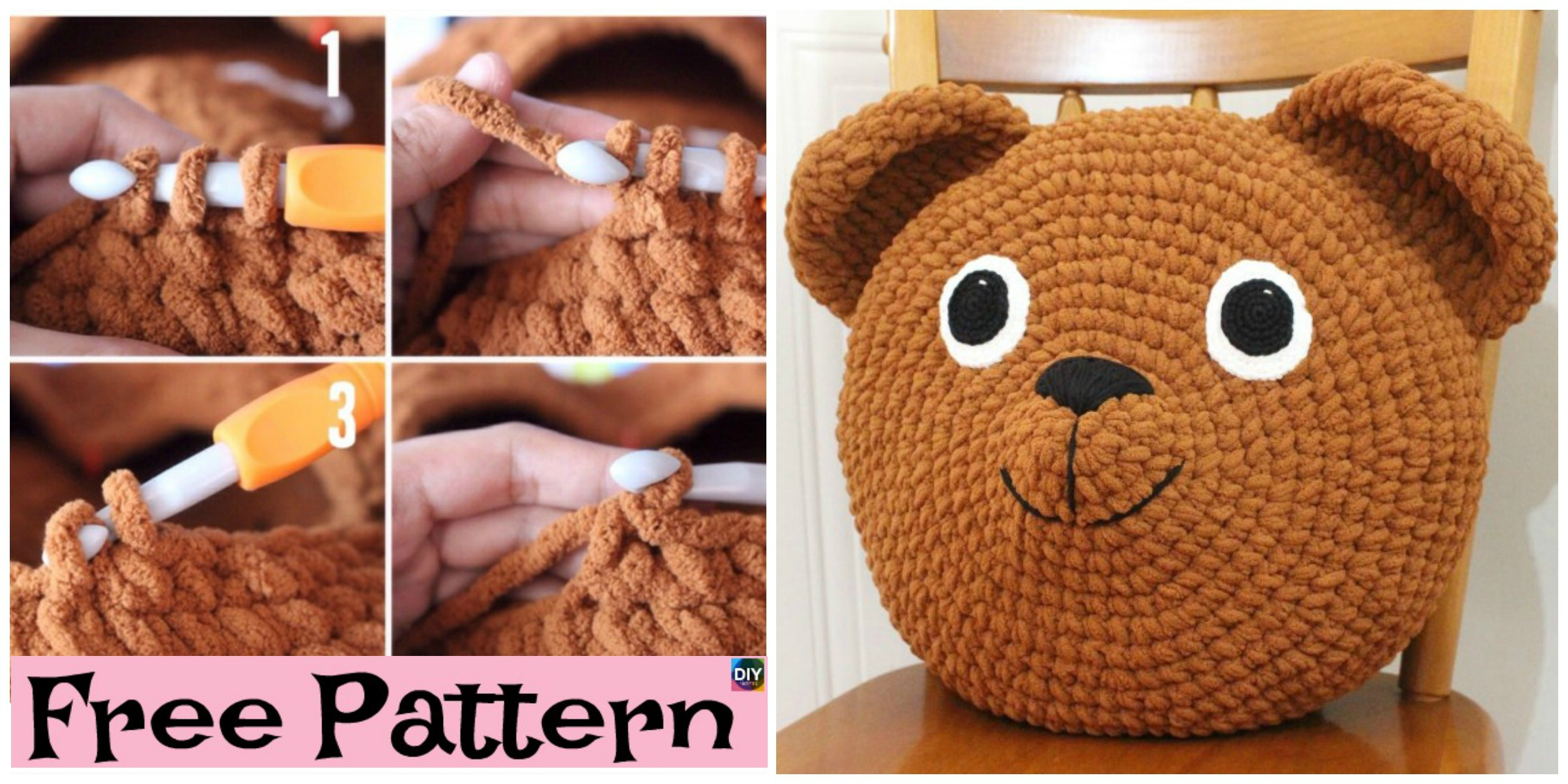 Cute Crochet Teddy Bear Pillow – Free Pattern