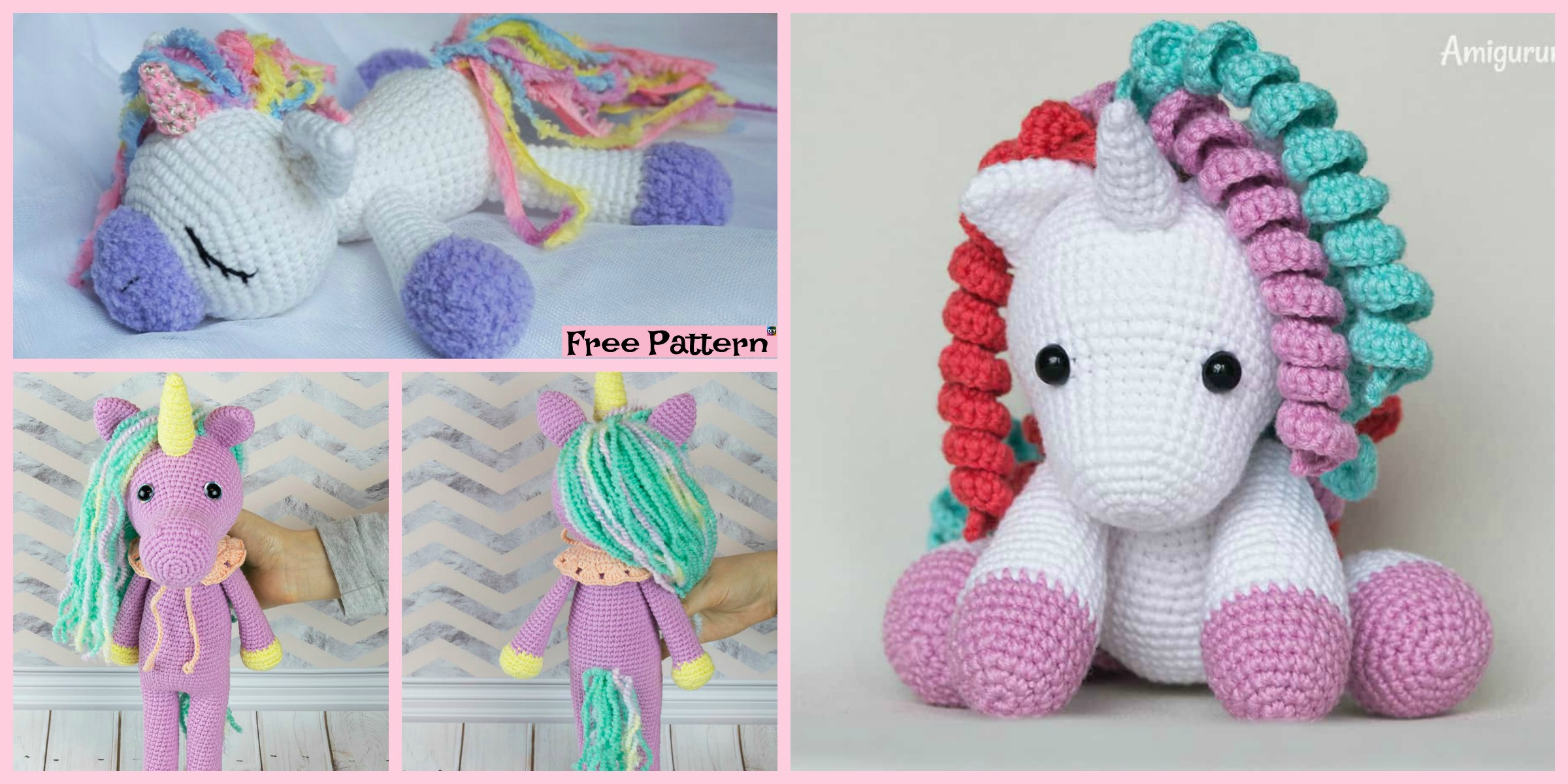 Cute Crochet Unicorn Amigurumi – Free Patterns