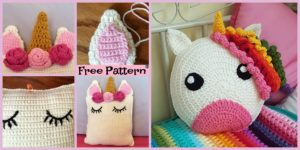 diy4ever-Cute Crochet Unicorn Pillow - Free Patterns