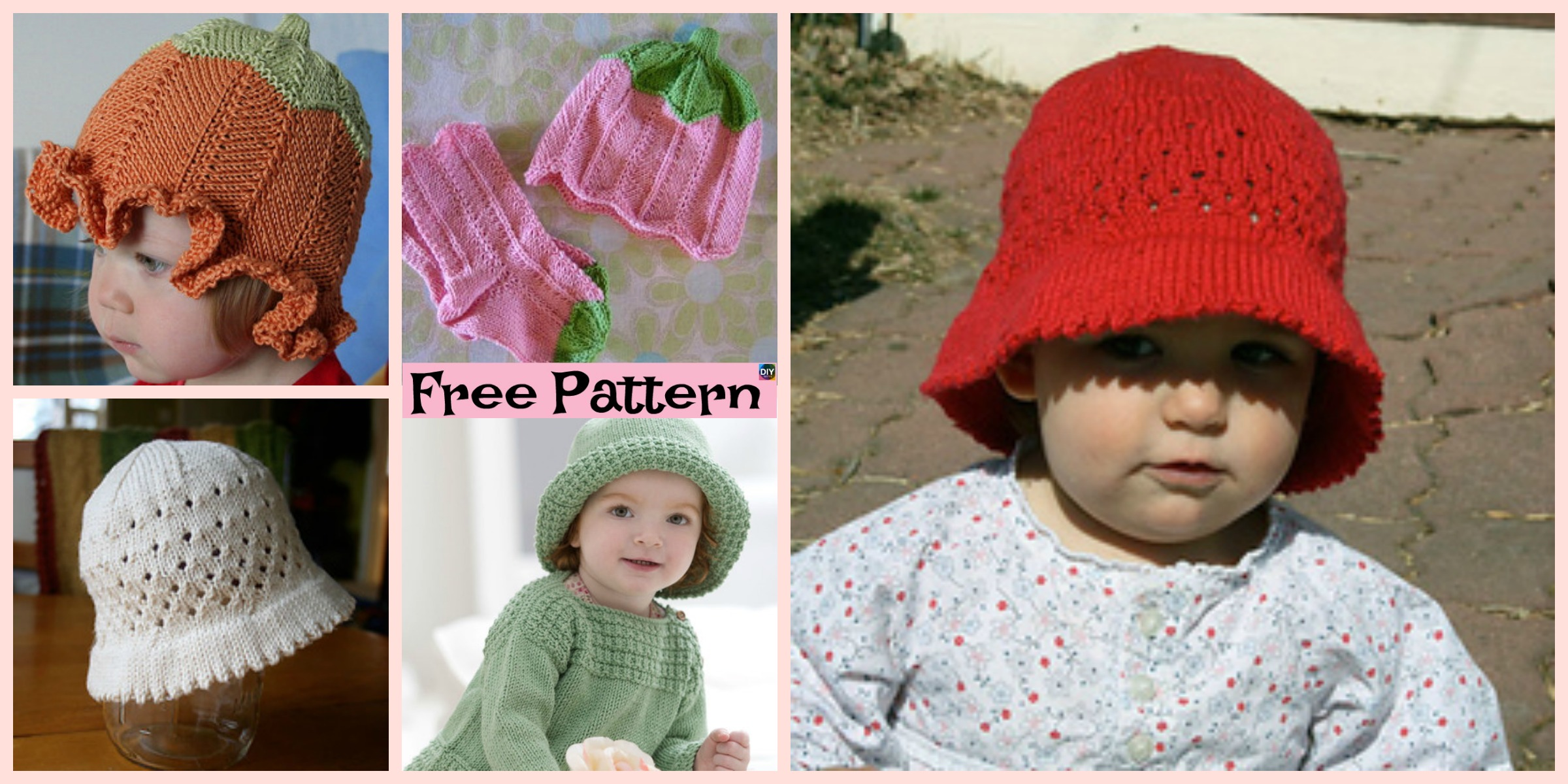 Cute Knitted Baby Sun Hat – Free Patterns