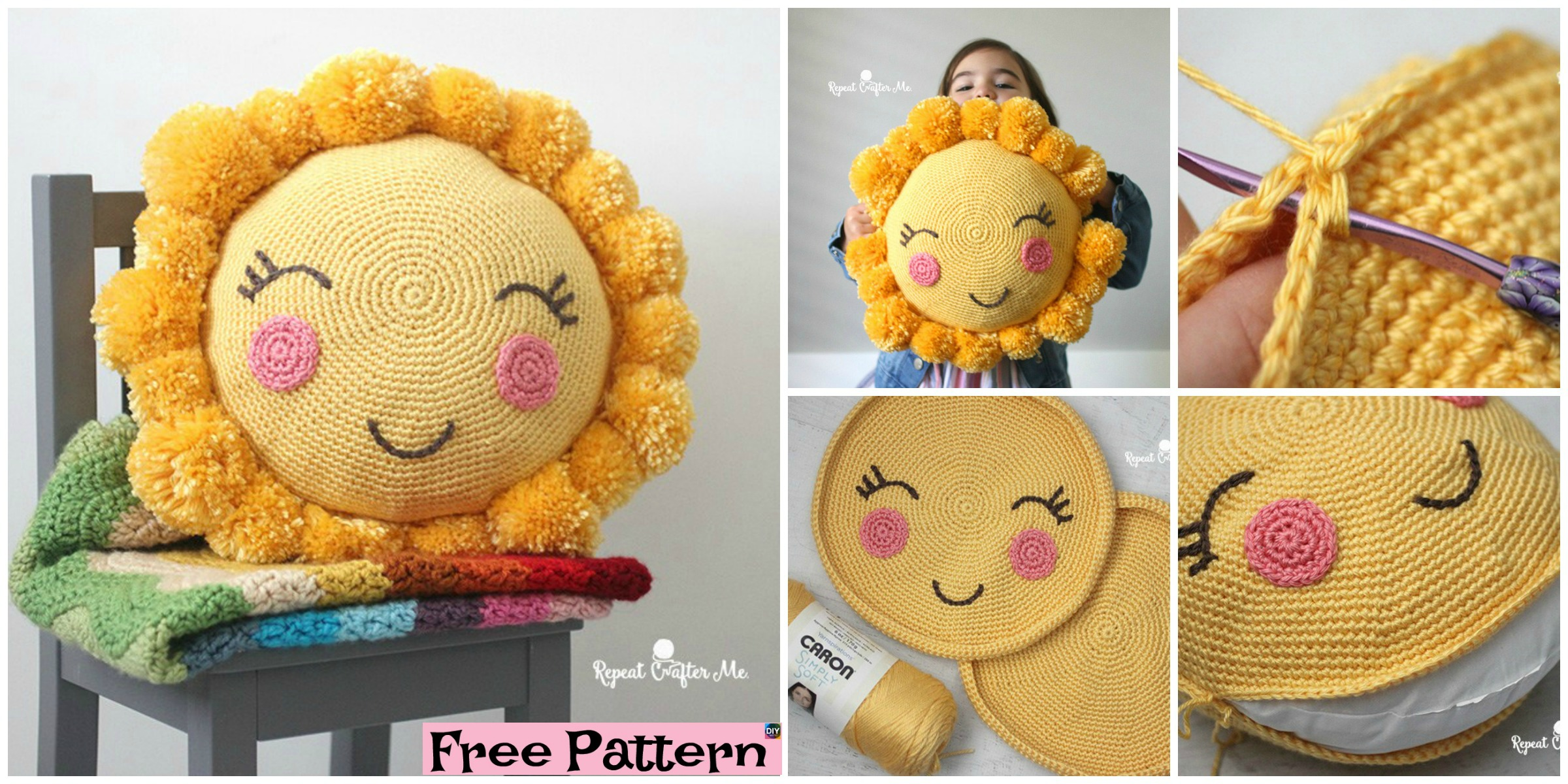 PomPom Crocheted Sunshine Pillow – Free Pattern