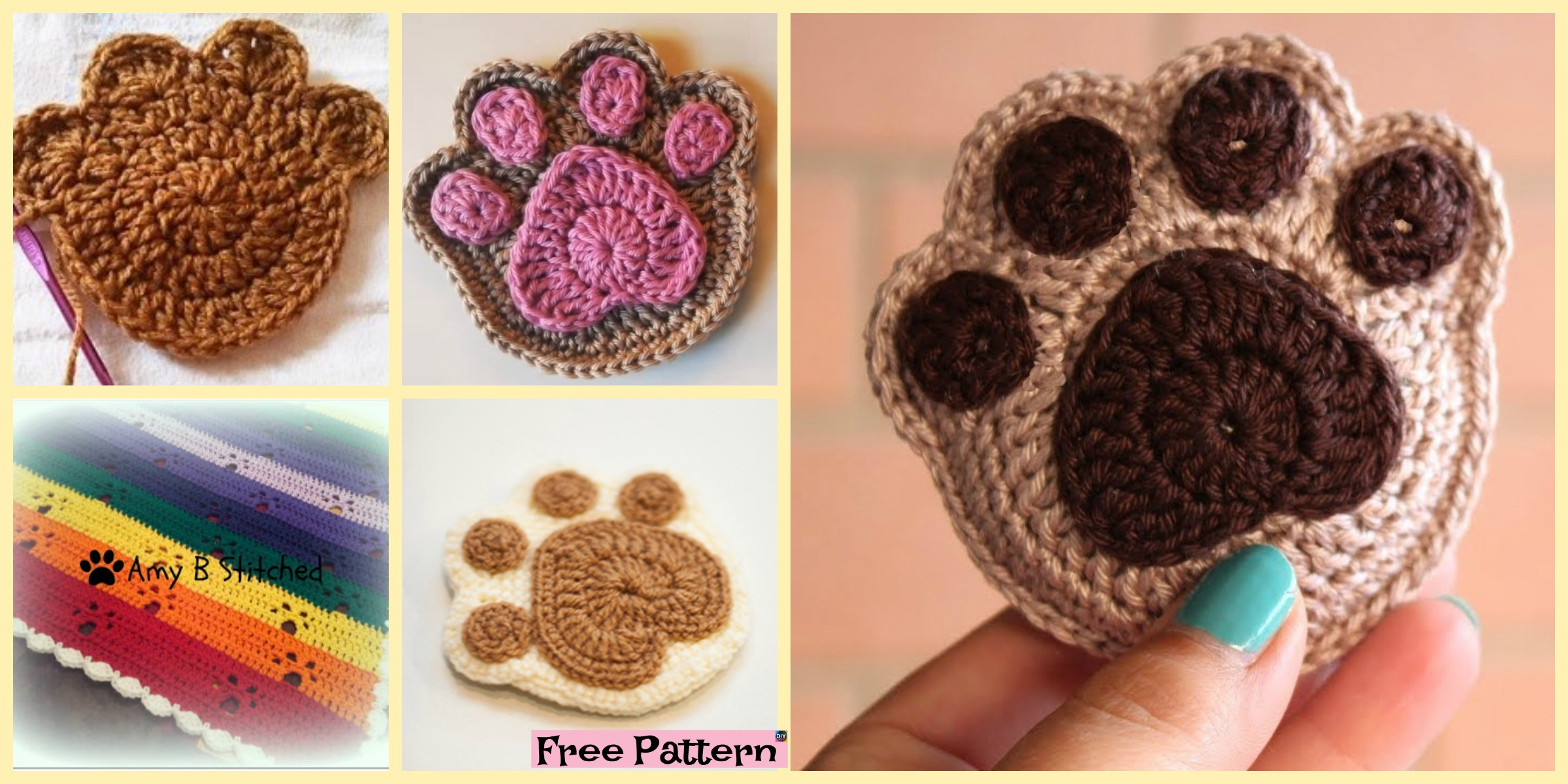 Super Cute Crochet Paw Print – Free Patterns