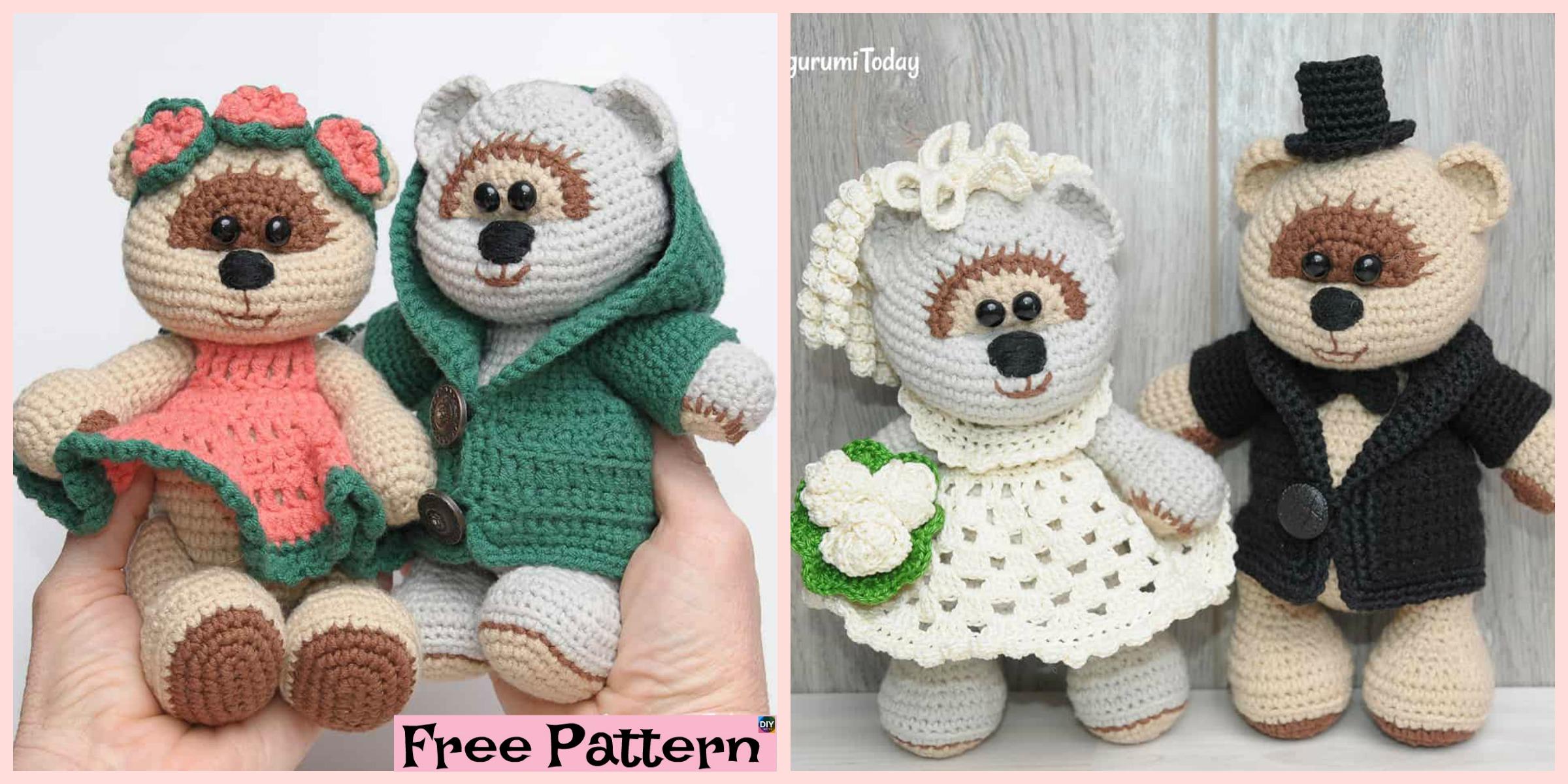 20+ Free Crochet Teddy Bear Patterns ⋆ Crochet Kingdom | 1200x2400