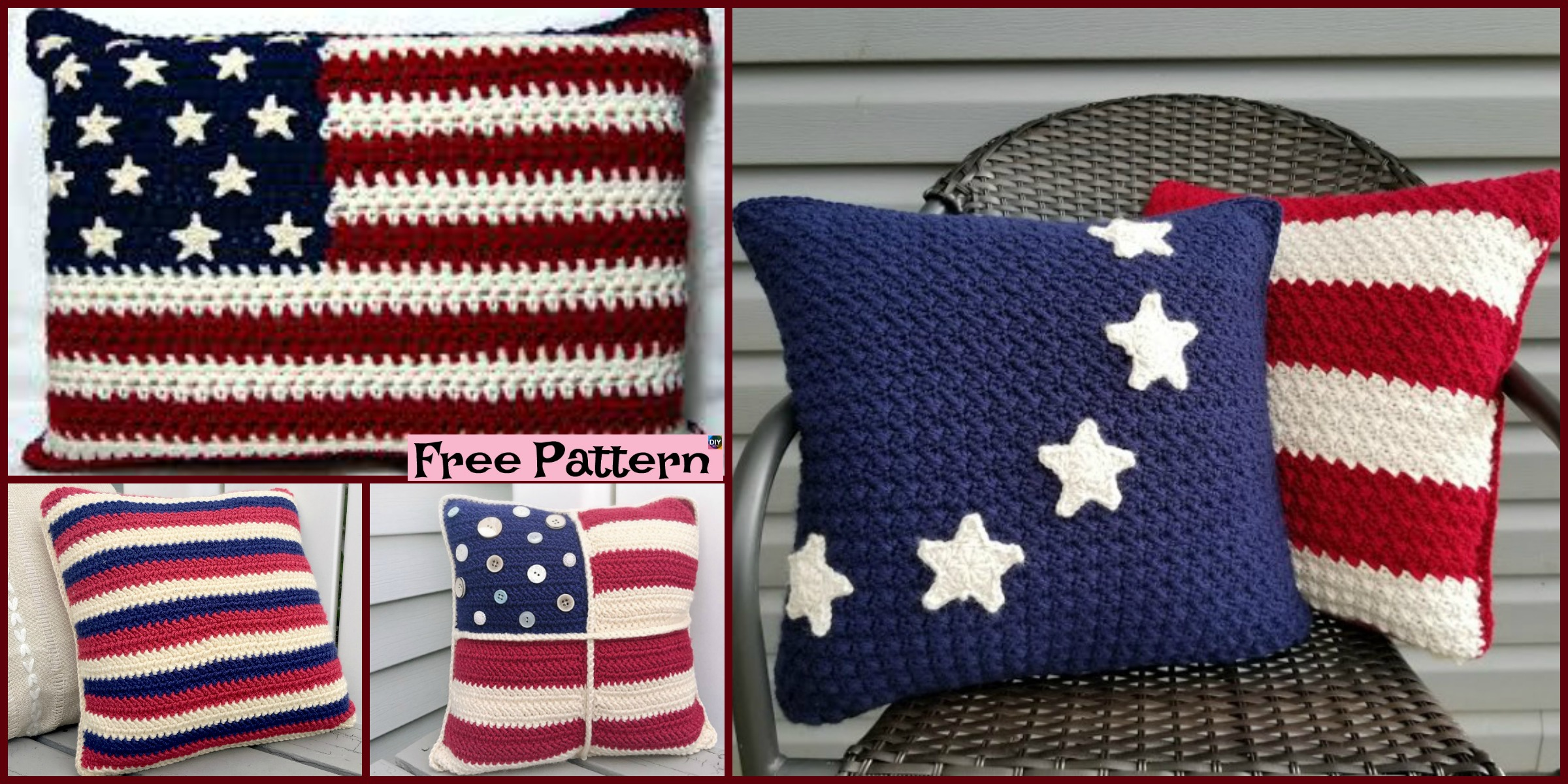 Unique Crochet Americana Pillow – Free Patterns