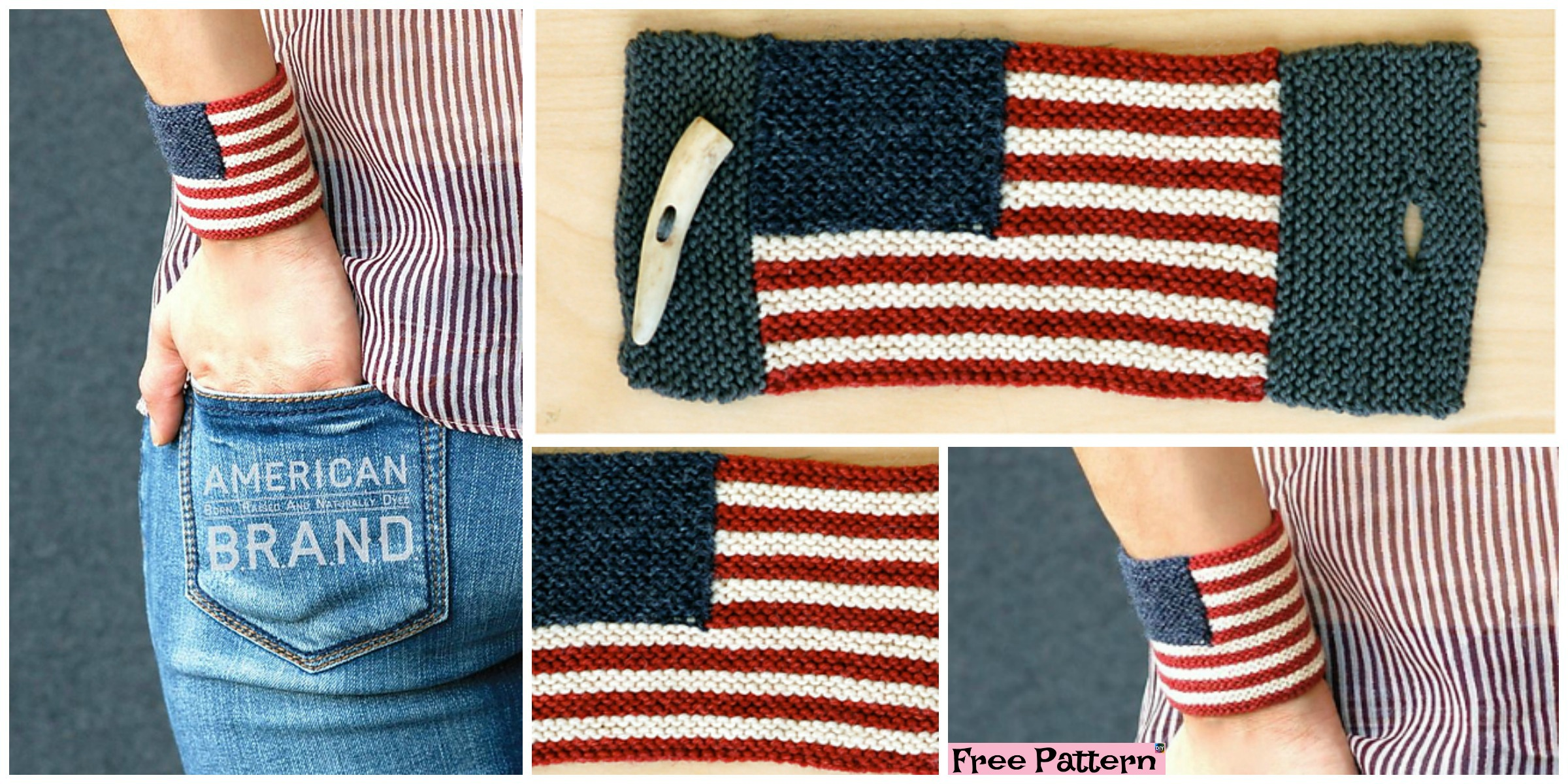 Unique Knit Americana Wrist Cuff – Free Pattern