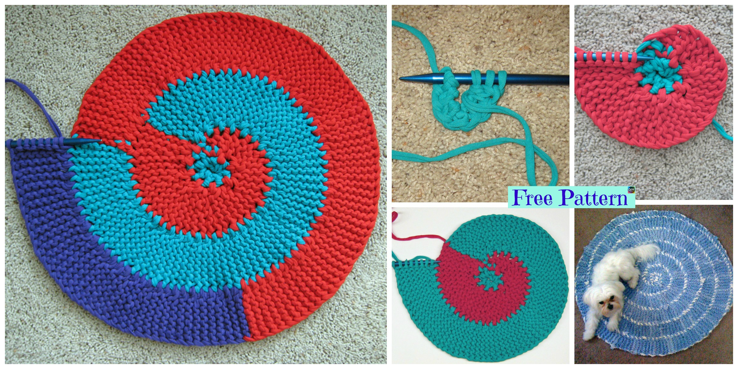 Beautiful Knit Spiral Rag Rug – Free Pattern