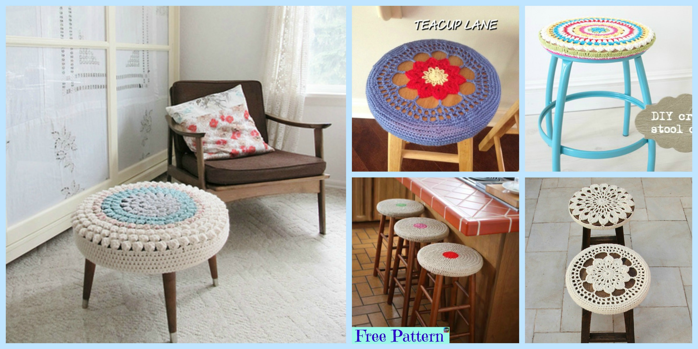 10 Beautiful Crochet Stool Cover Free Patterns