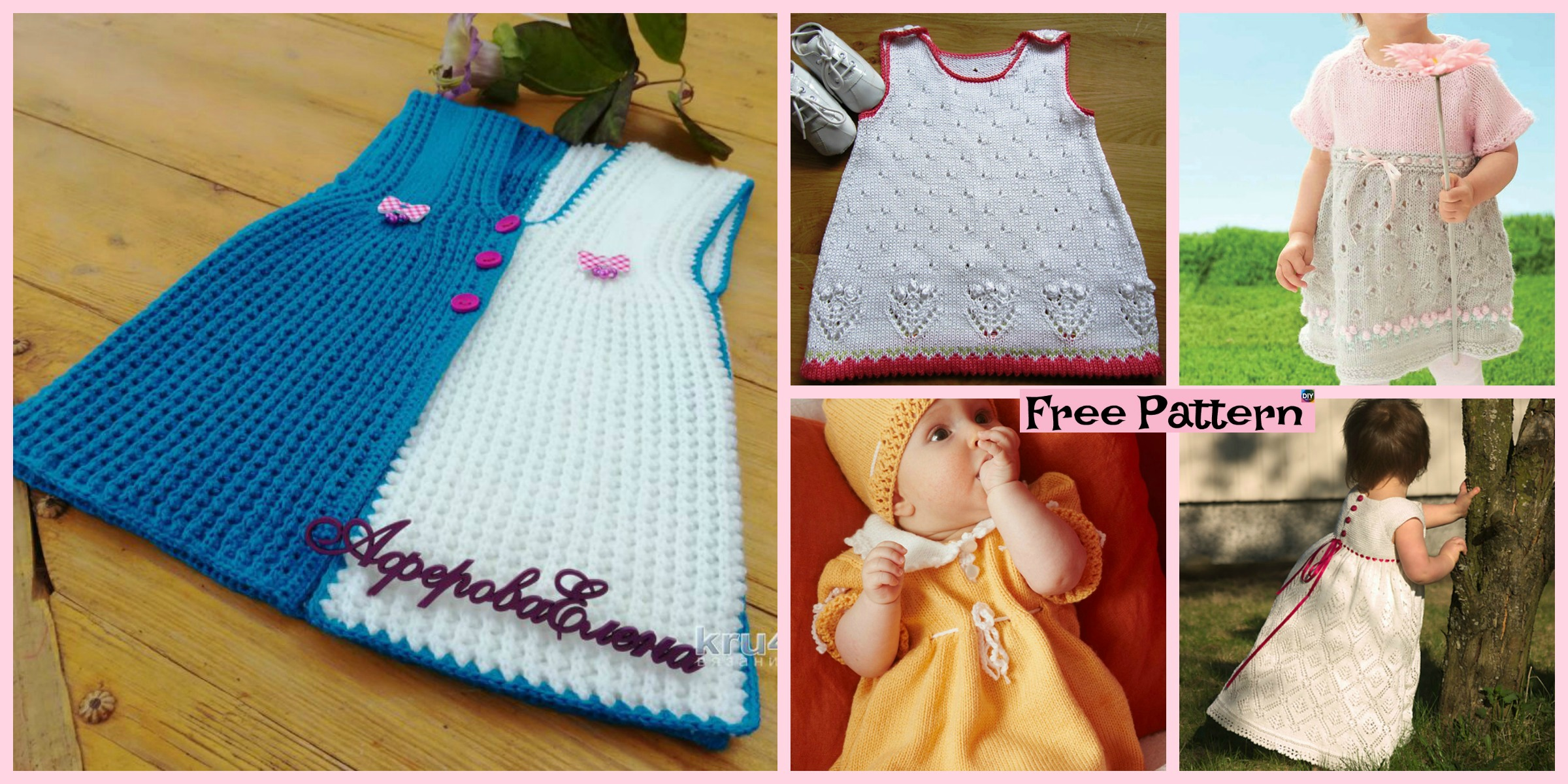 10 Most Unique Knitting Baby Dress  – Free Patterns