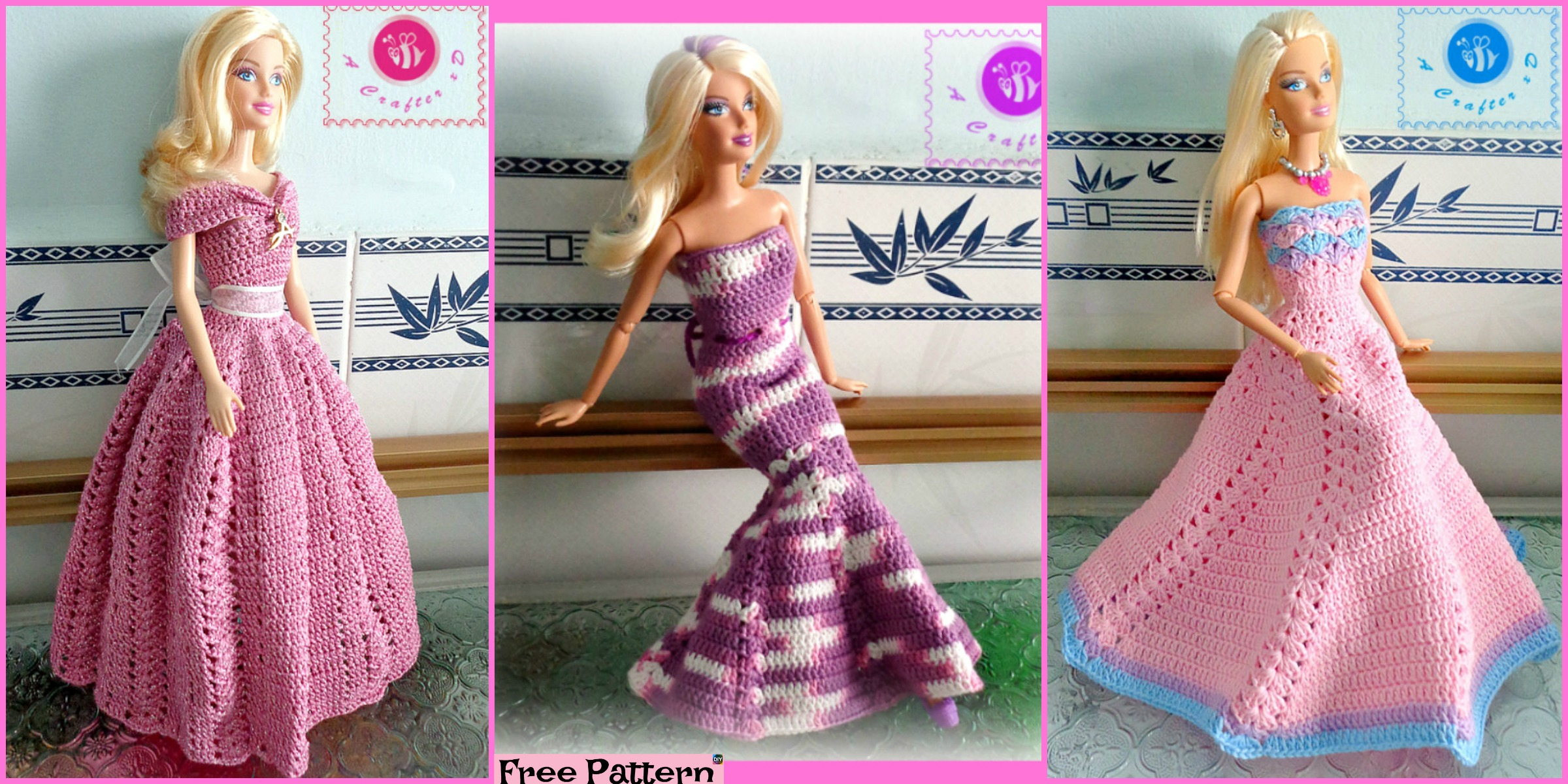 6 Pretty Crochet Doll Dress – Free Patterns