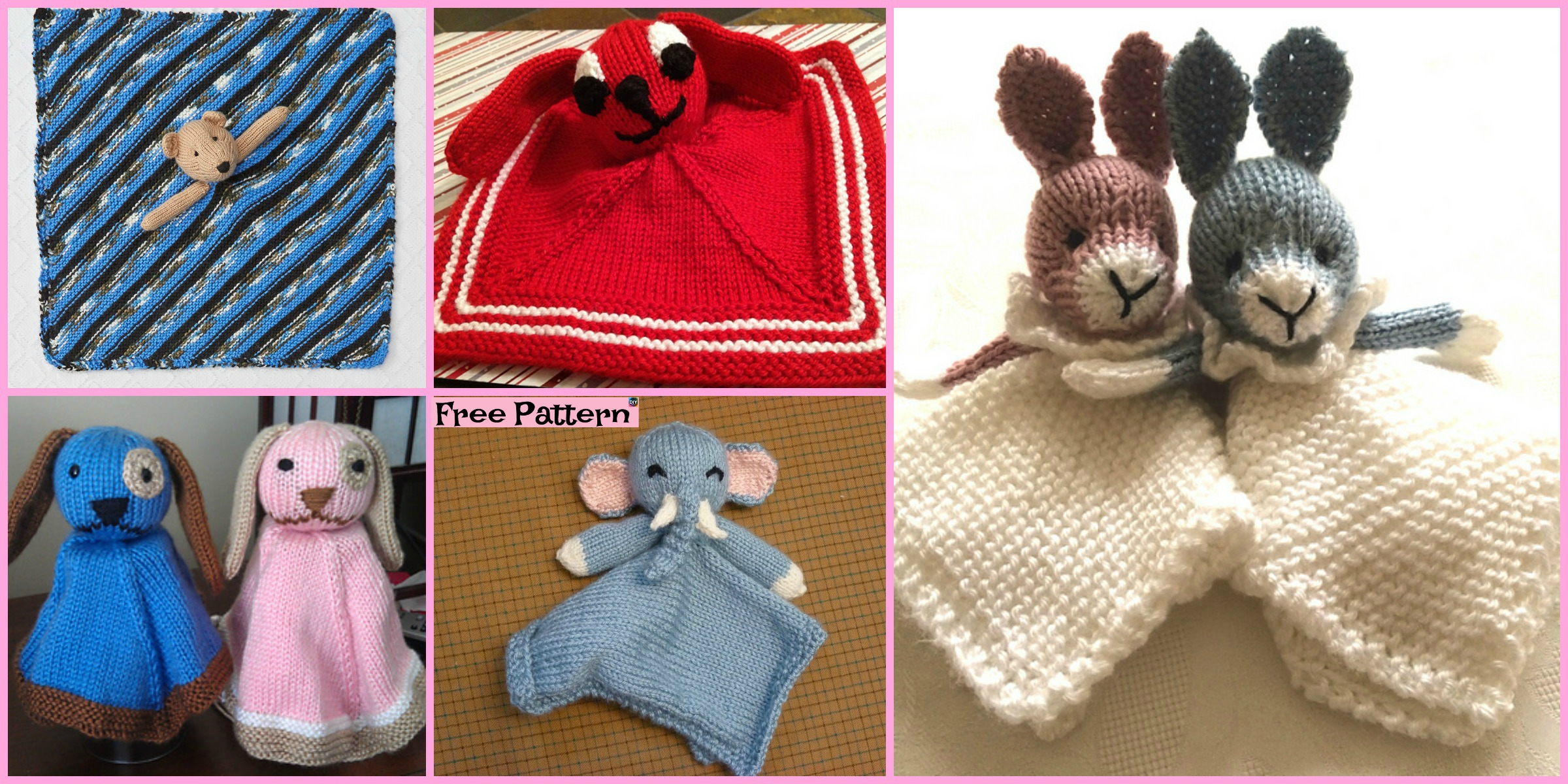 8 Adorable Knit Animal Lovey Free Patterns