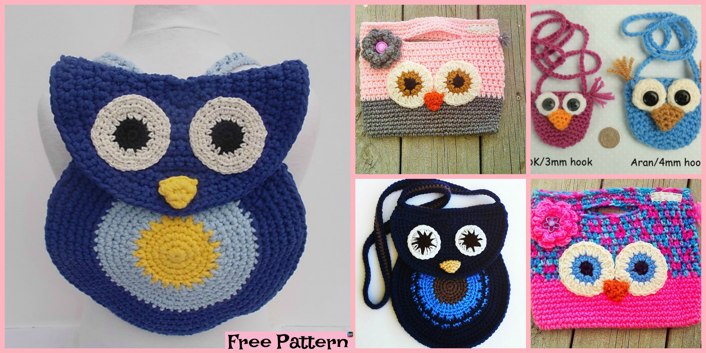 Adorable Crochet Owl  Bag – Free Patterns