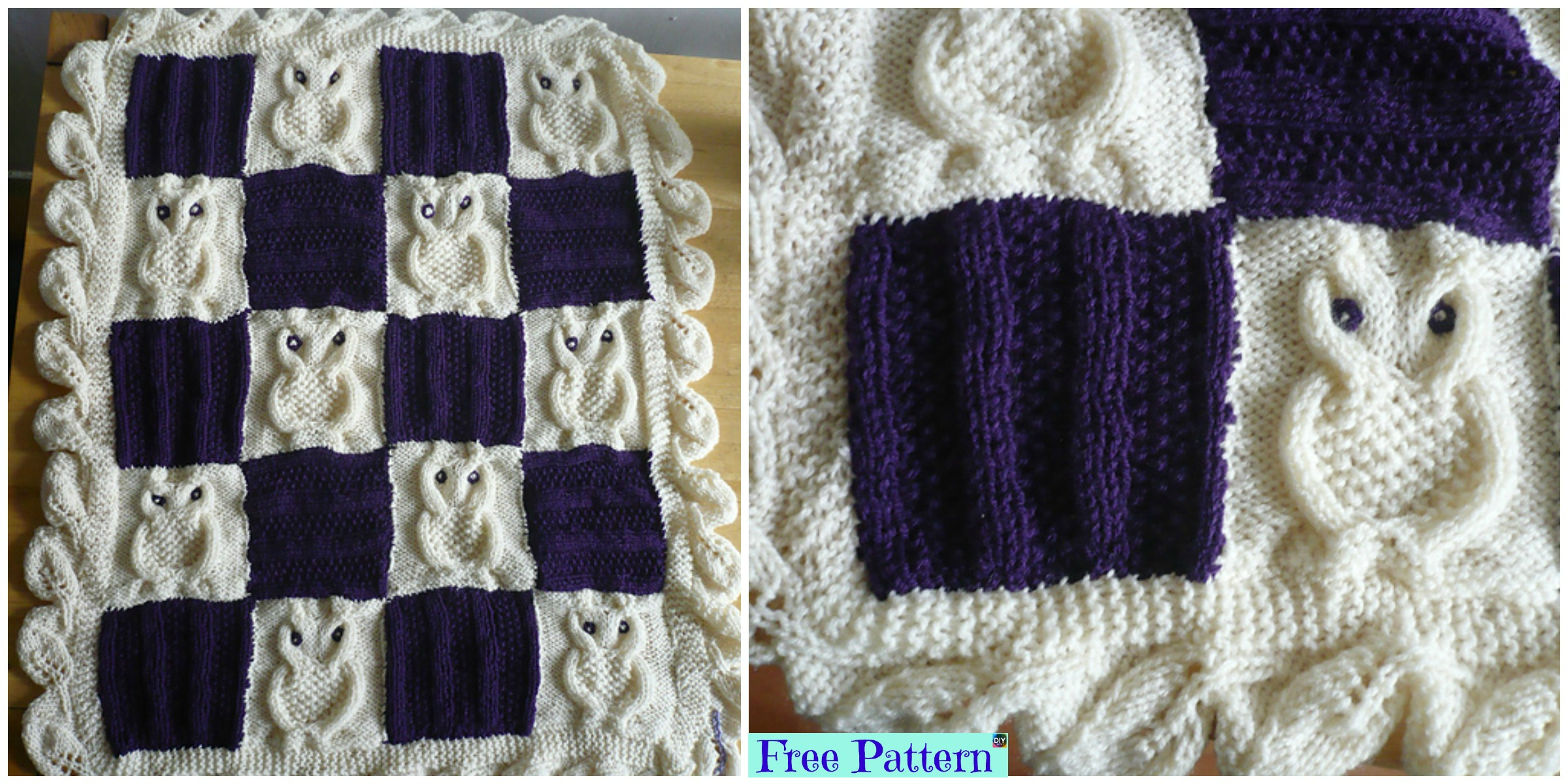 Adorable Knit Cable Owl Blanket – Free Pattern