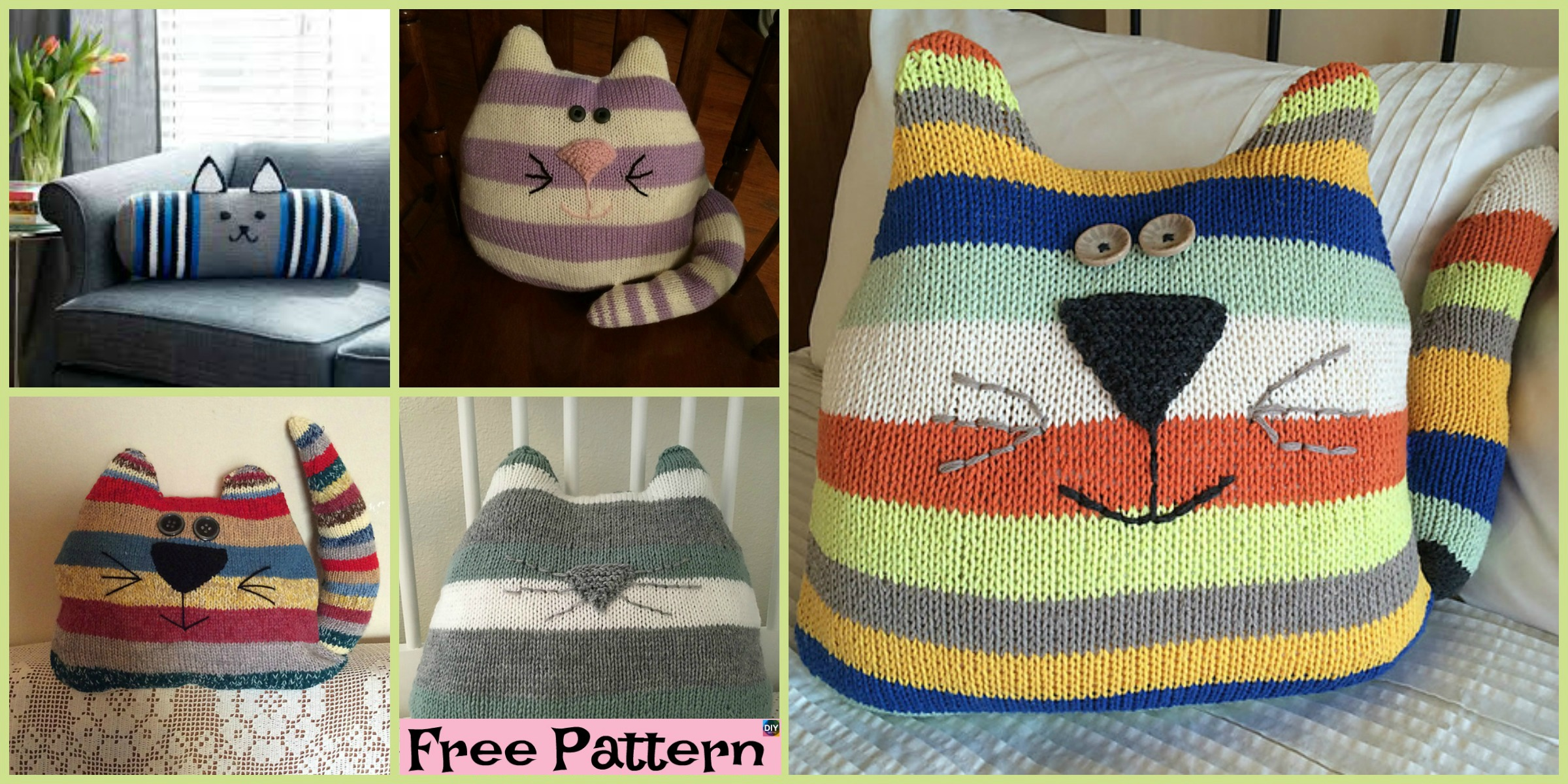 Adorable Knit Cat Cushion  – Free Patterns