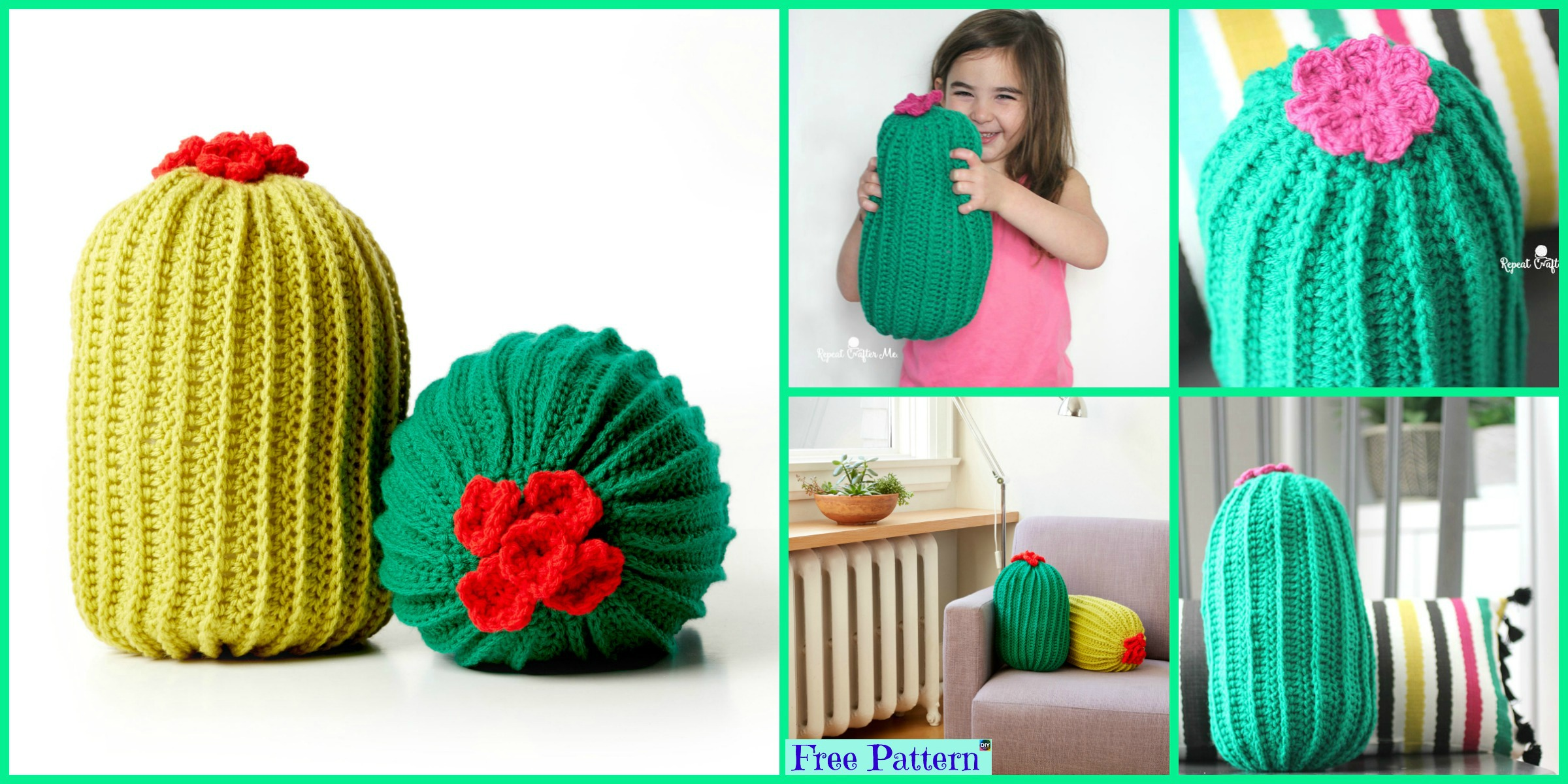 Beautiful Crochet Cactus Pillow – Free Patterns