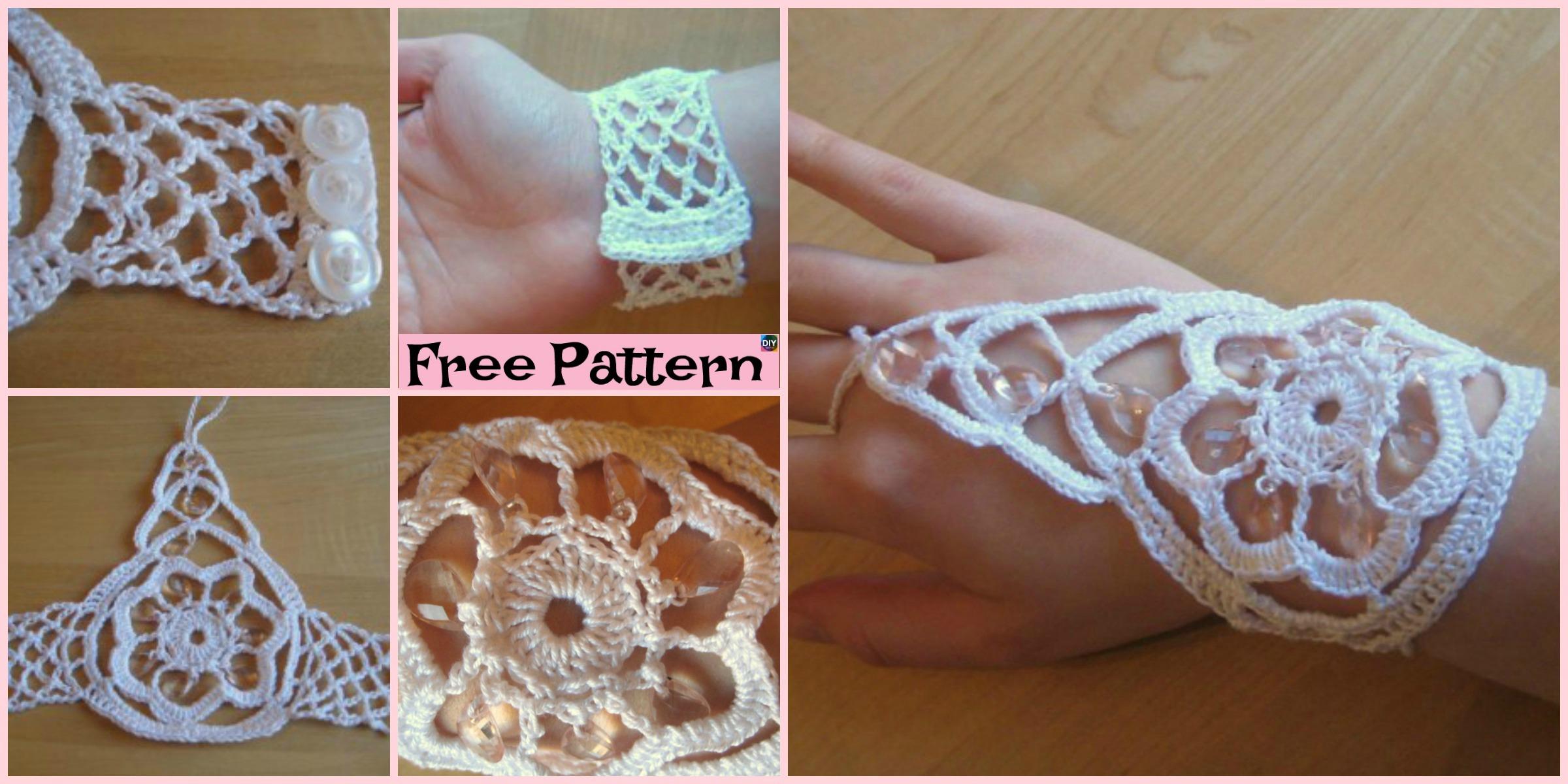 Crochet Beaded Bracelet Ring – Free Pattern