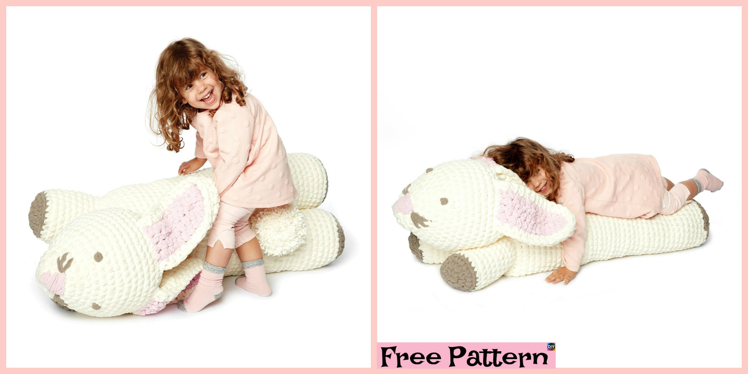 Cute Crochet Bunny Floor Pillow – Free Pattern