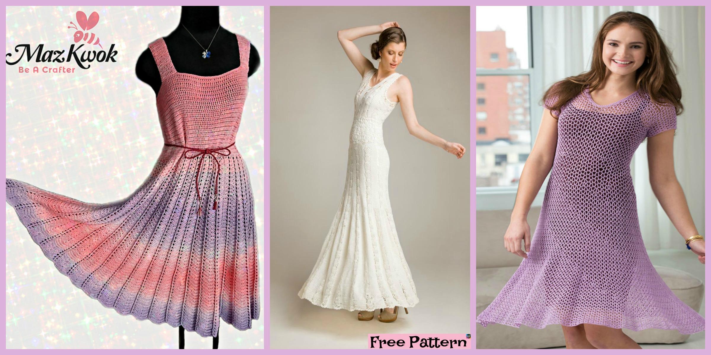 Beautiful Crochet Flare Dress – Free Patterns