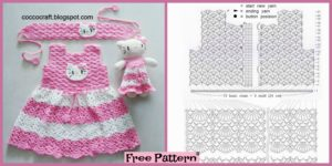 diy4ever-Crochet Hello Kitty Dress & Amigurumi - Free Pattern