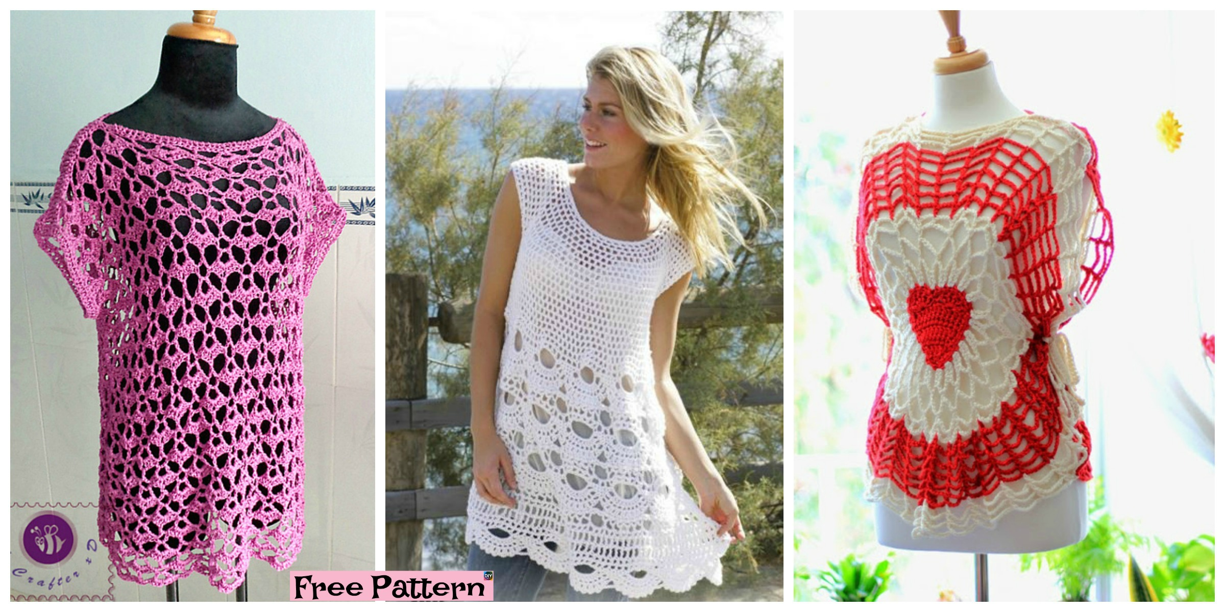 Crochet Lacy Oversized Top – Free Patterns