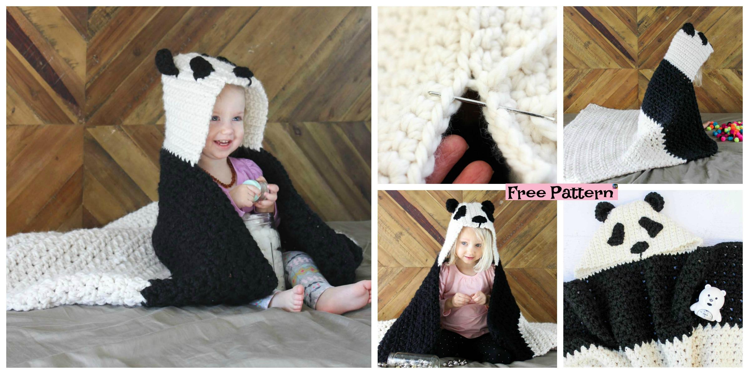 Crochet Panda Hooded Afghan – Free Pattern