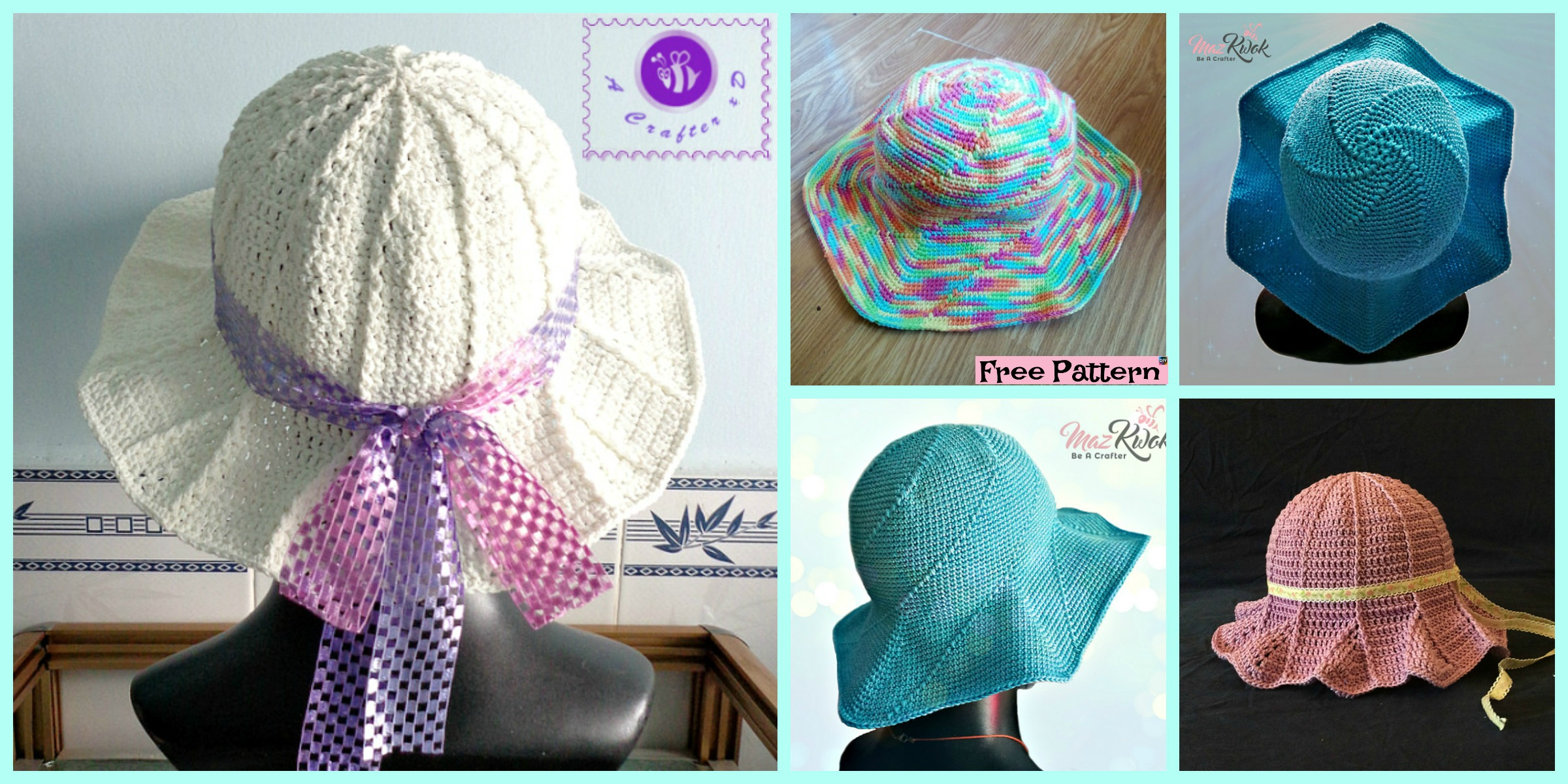 Pretty Crochet Simple Sun Hat – Free Patterns