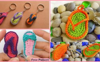 diy4ever- Crochet Slipper Keychain - Free Patterns