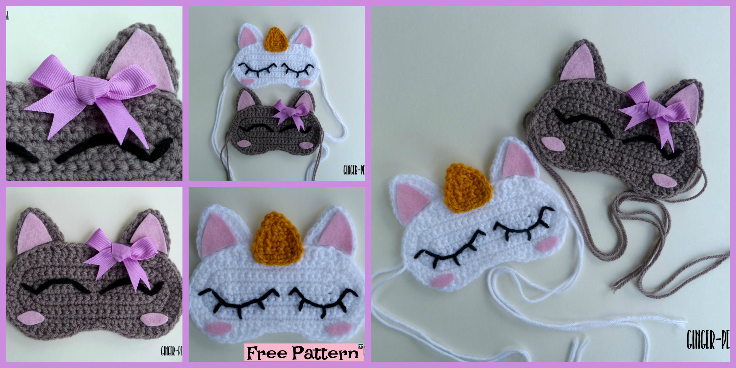 Crochet Unicorn Sleep Mask  – Free Pattern