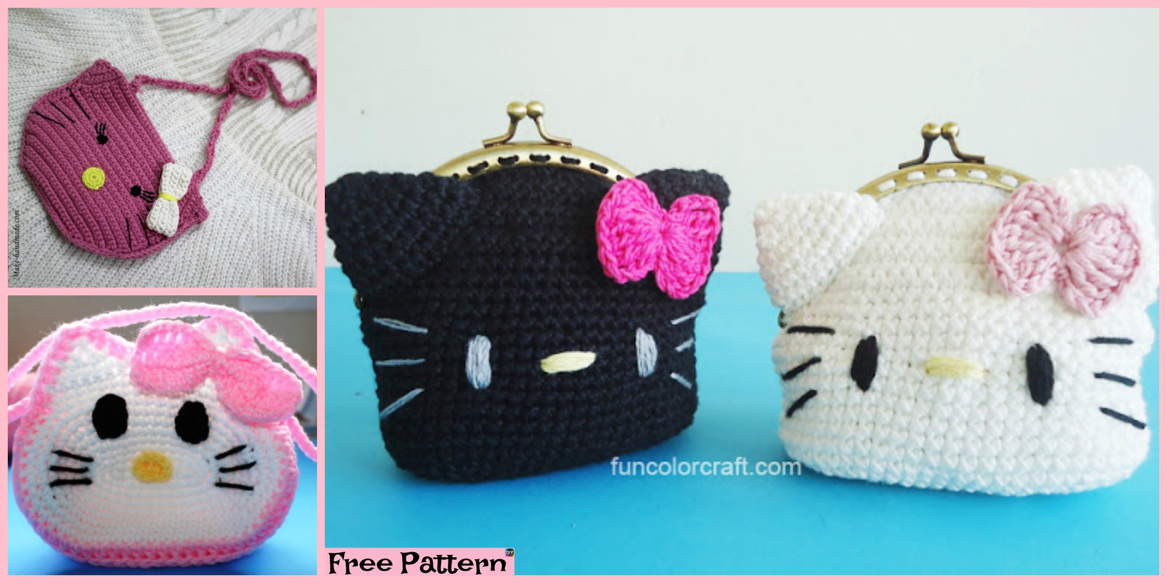 Cute Crochet Hello Kitty Purse – Free Patterns