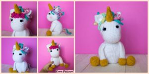 diy4ever-Cute Crocheted Unicorn Amigurumi - Free Pattern