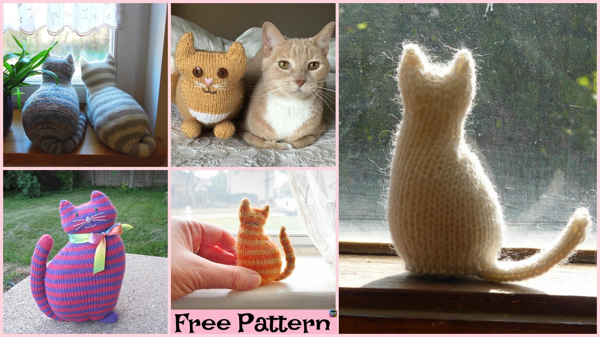 Super Cute Knit Window Cat – Free Patterns